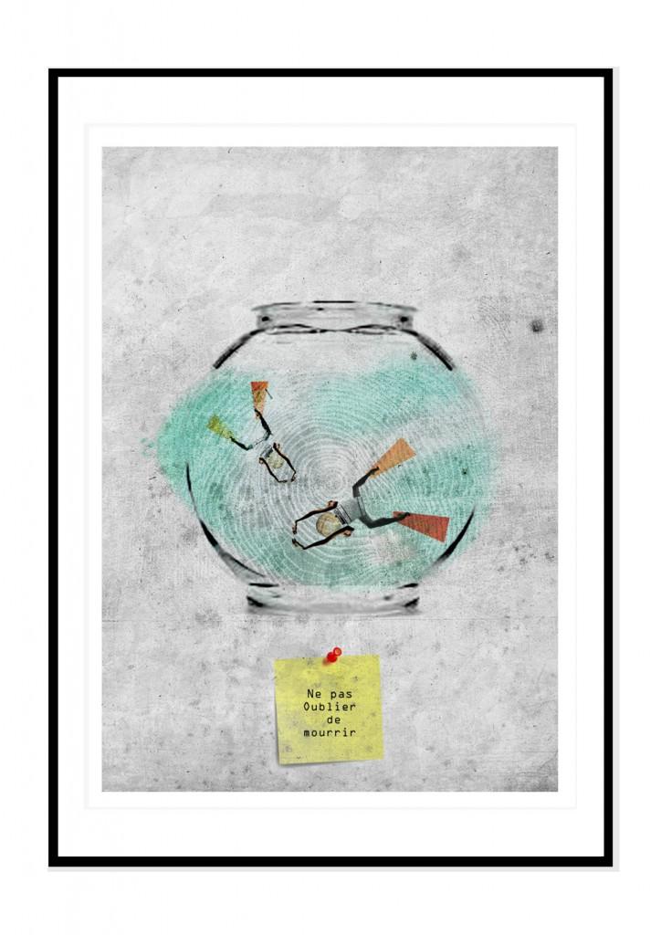 cadre noir- collage barbara penhouet- ne pas oublier de mourrir